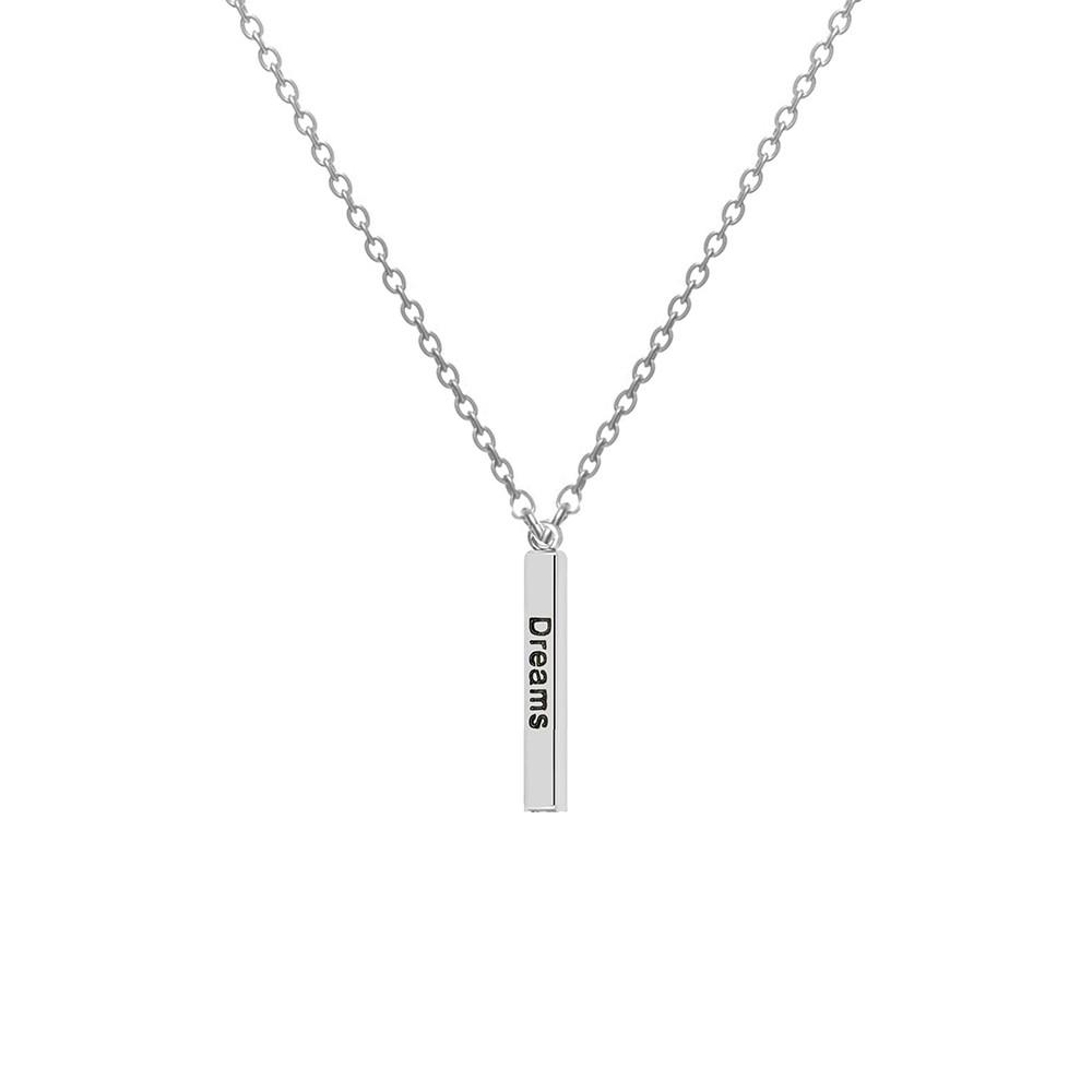CO88 Collection 8CN-20013 - Stalen collier met hanger - jasseron - dream, love en laugh 30 mm - lengte 40 + 3 cm - zilverkleurig