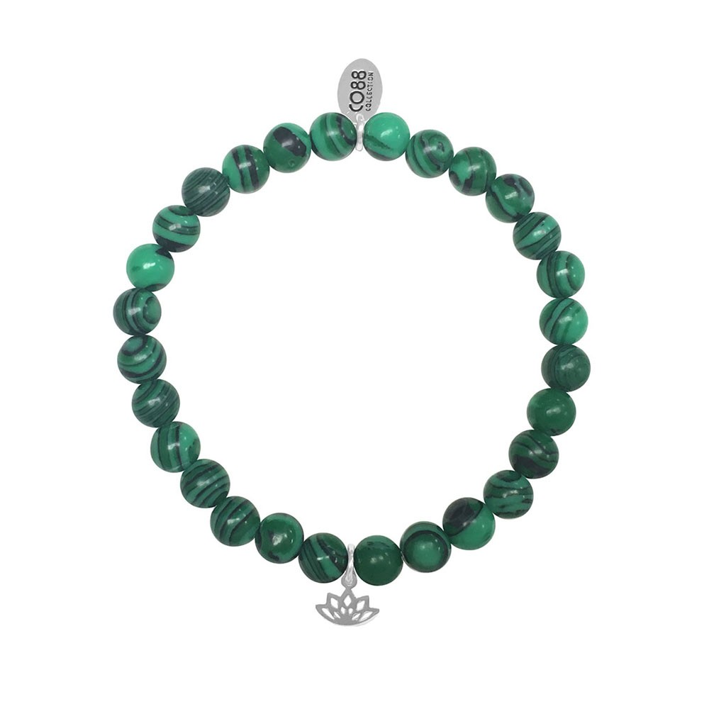 CO88 Collection 8CB-17043 - Rekarmband met staal element - natuursteen Malachiet 6 mm - lotus bedel - one-size - groen / zilverkleurig