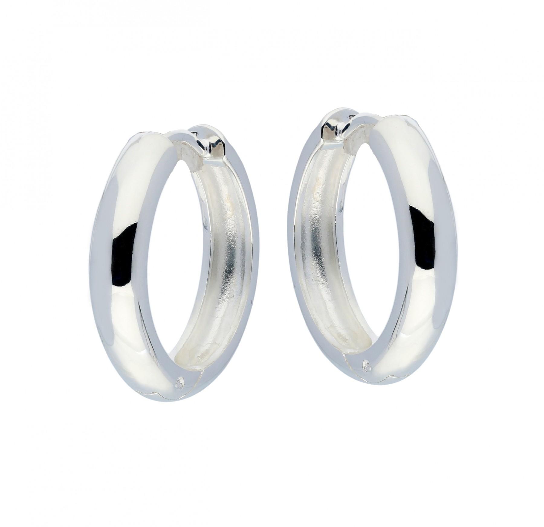 Zilveren klapcreolen - ronde buis 4 mm  107.0068.20