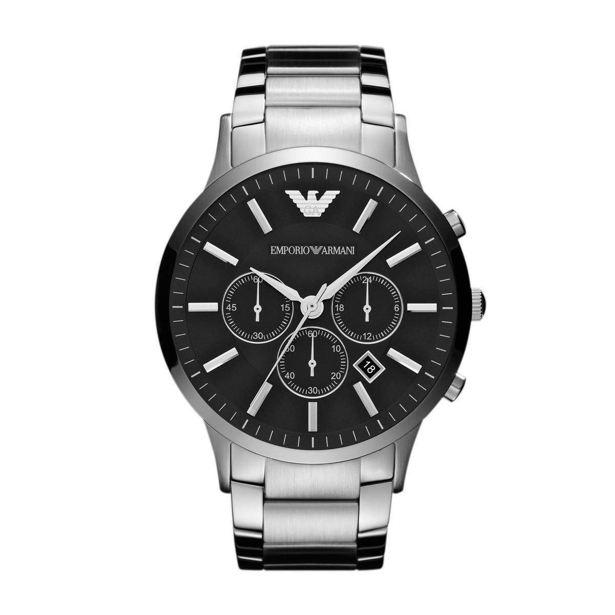 Emporio Armani Horloge Renato staal zilverkleurig AR2460