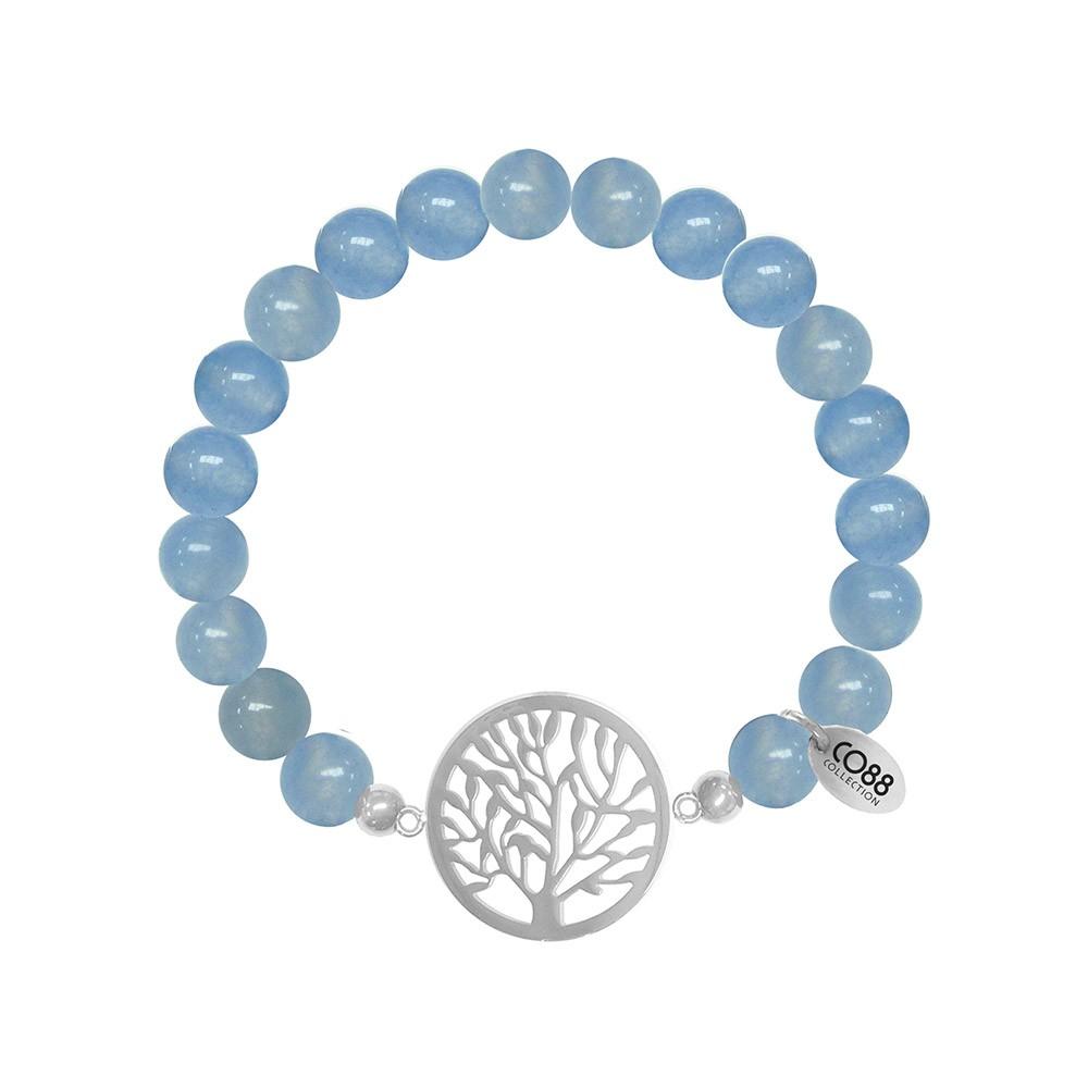 CO88 Collection 8CB-80015 - Rekarmband met bedels - Jade natuursteen 8 mm - levensboom - one-size - blauw / zilverkleurig