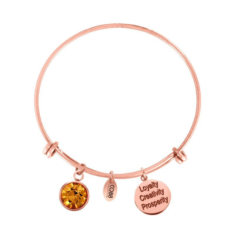 CO88 Collection 8CB-12059 - Stalen bangle met geboortesteen november   Topaas en bedels - one-size - oranje / rosékleurig
