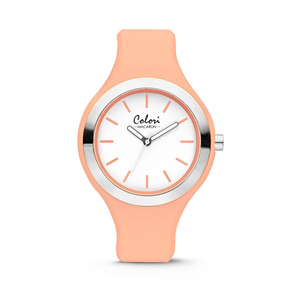 Colori - Macaron - 5-COL435 - Horloge - siliconen band - perzik oranje en zilverkleurig - 44 mm
