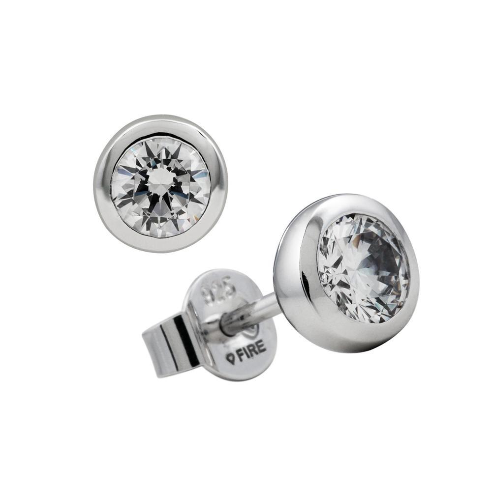 Zilveren solitair oorknoppen diamonfire - 0.50 ct 0.50 ct - 5 mm - kastzetting 806.0041.00