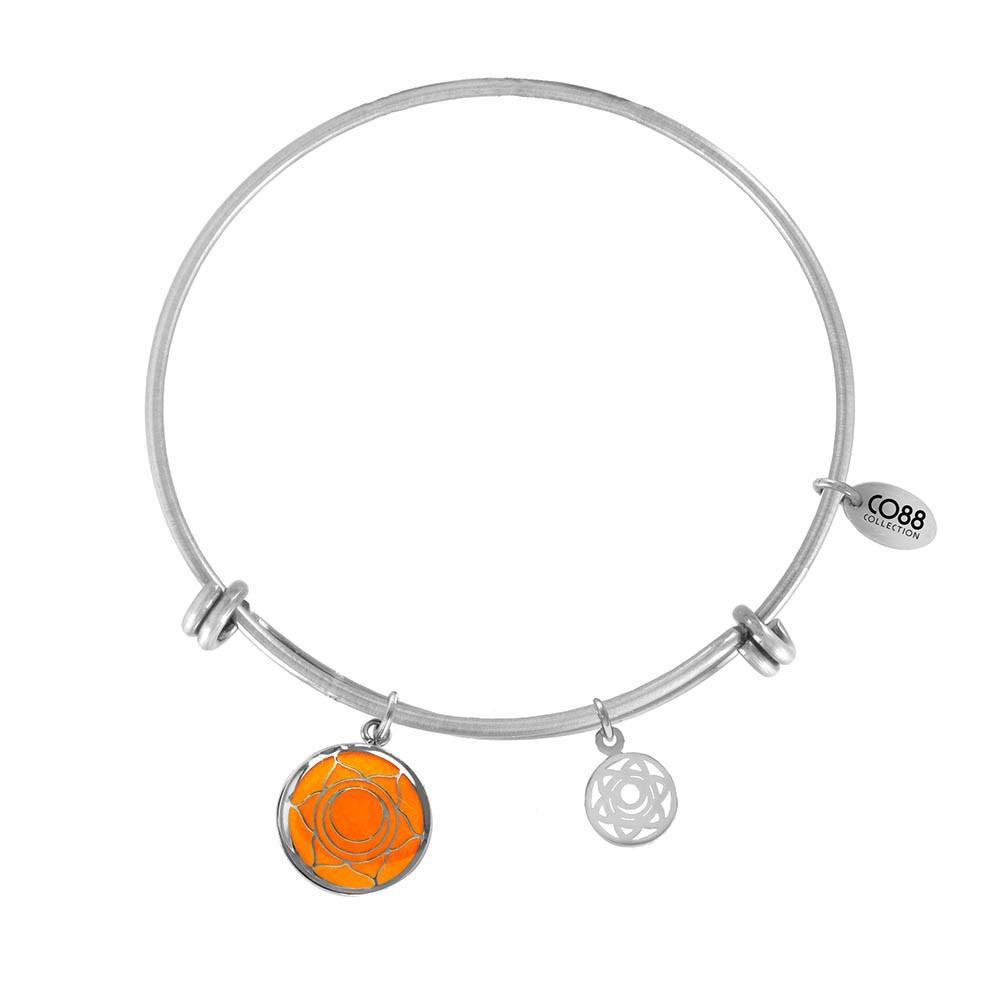 CO88 Collection 8CB-26005 - Stalen bangle met bedels - glazen sacral chakra - one-size - zilverkleurig / oranje