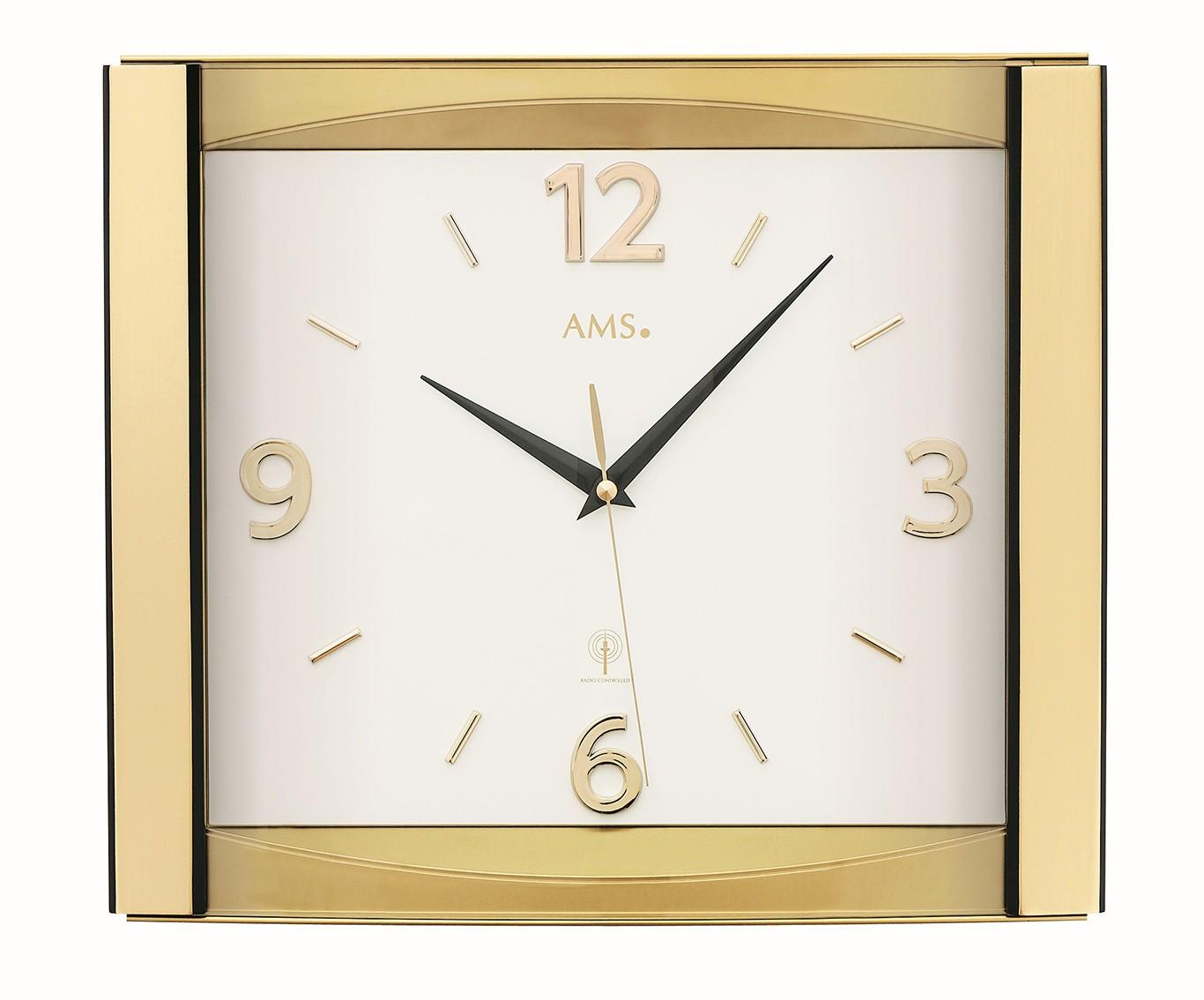 AMS Wandklok goudkleurig zendergestuurd 5613