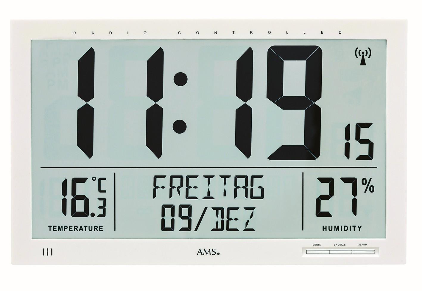 AMS Wandklok Digitaal met datum en temperatuur 5887