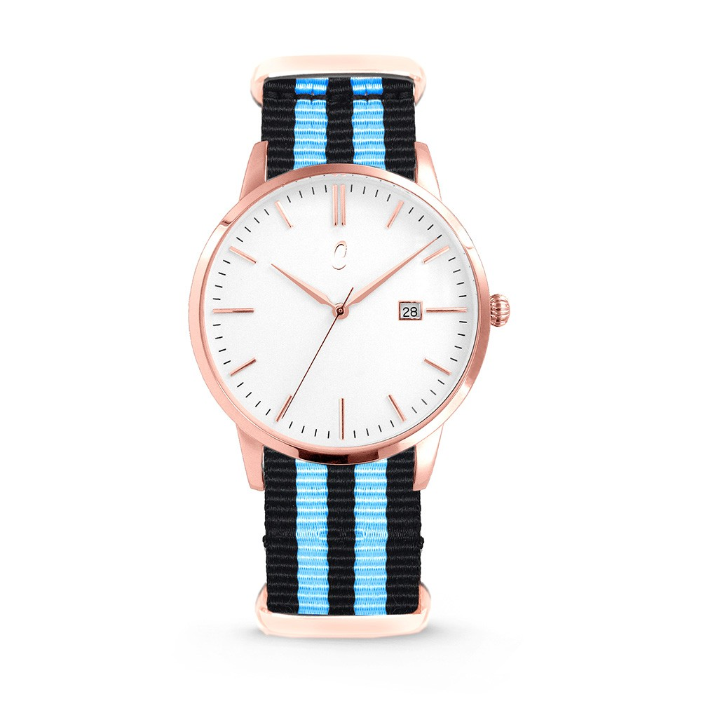 Colori Nato Connaisseur 5-COL499 - Horloge - nato - zwart/ blauw - ø 40 mm