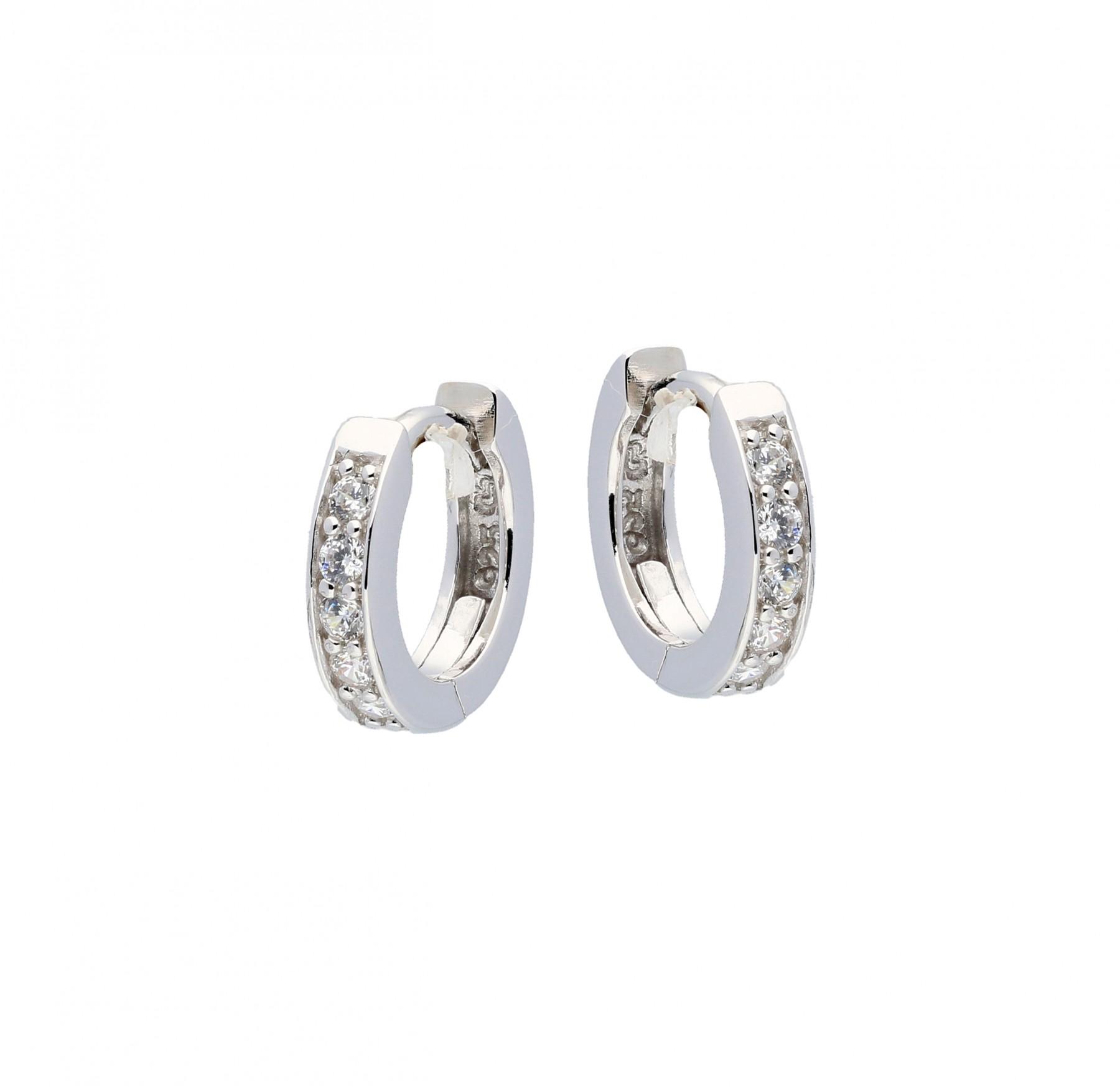 Zilveren klapcreolen - zirkonia - 3 x 12 mm - vierkante buis - gerodineerd 107.0486.10