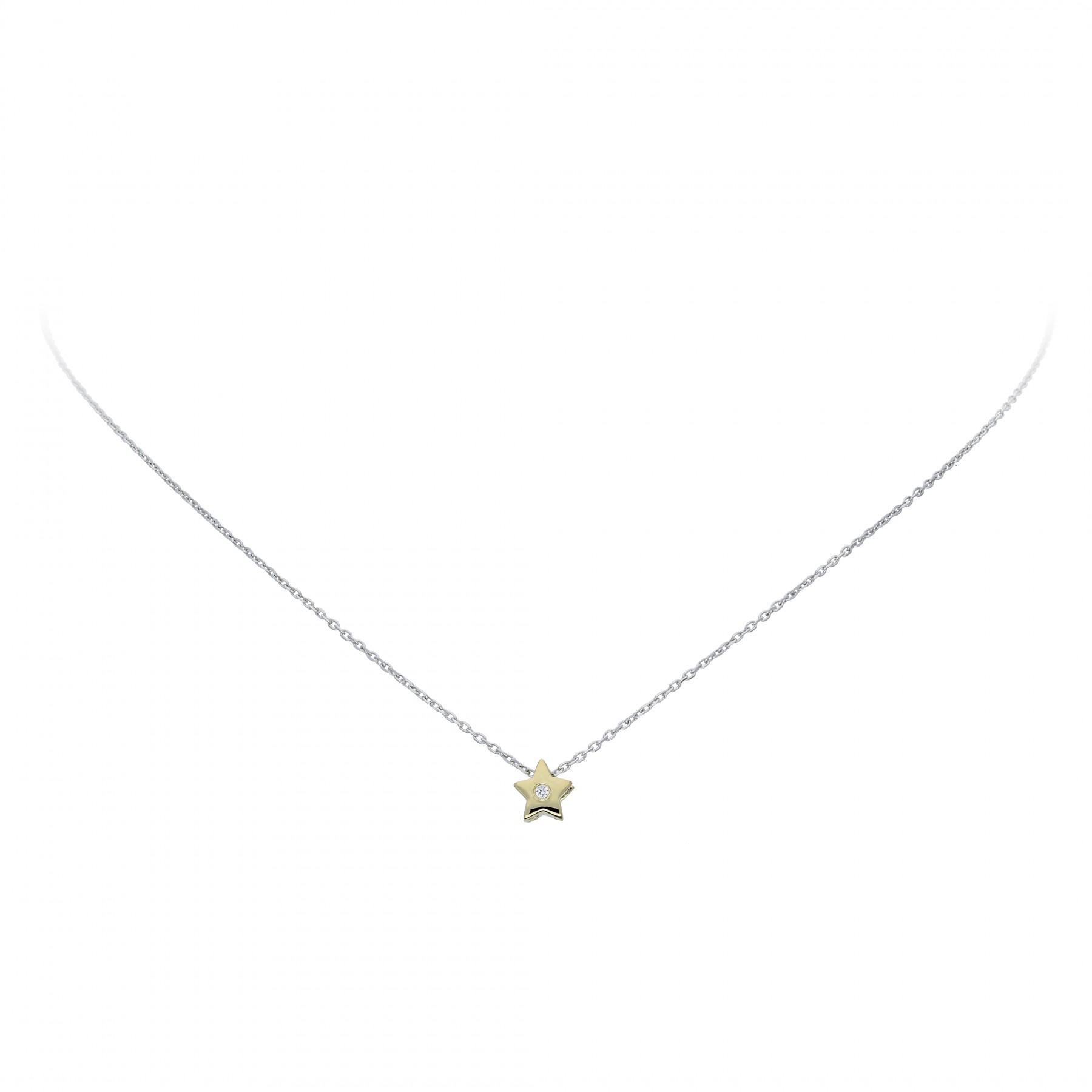 Glow Gouden Collier Met Hanger - 42 Cm Ster Zirkonia Ankerschakel 202.5021.42