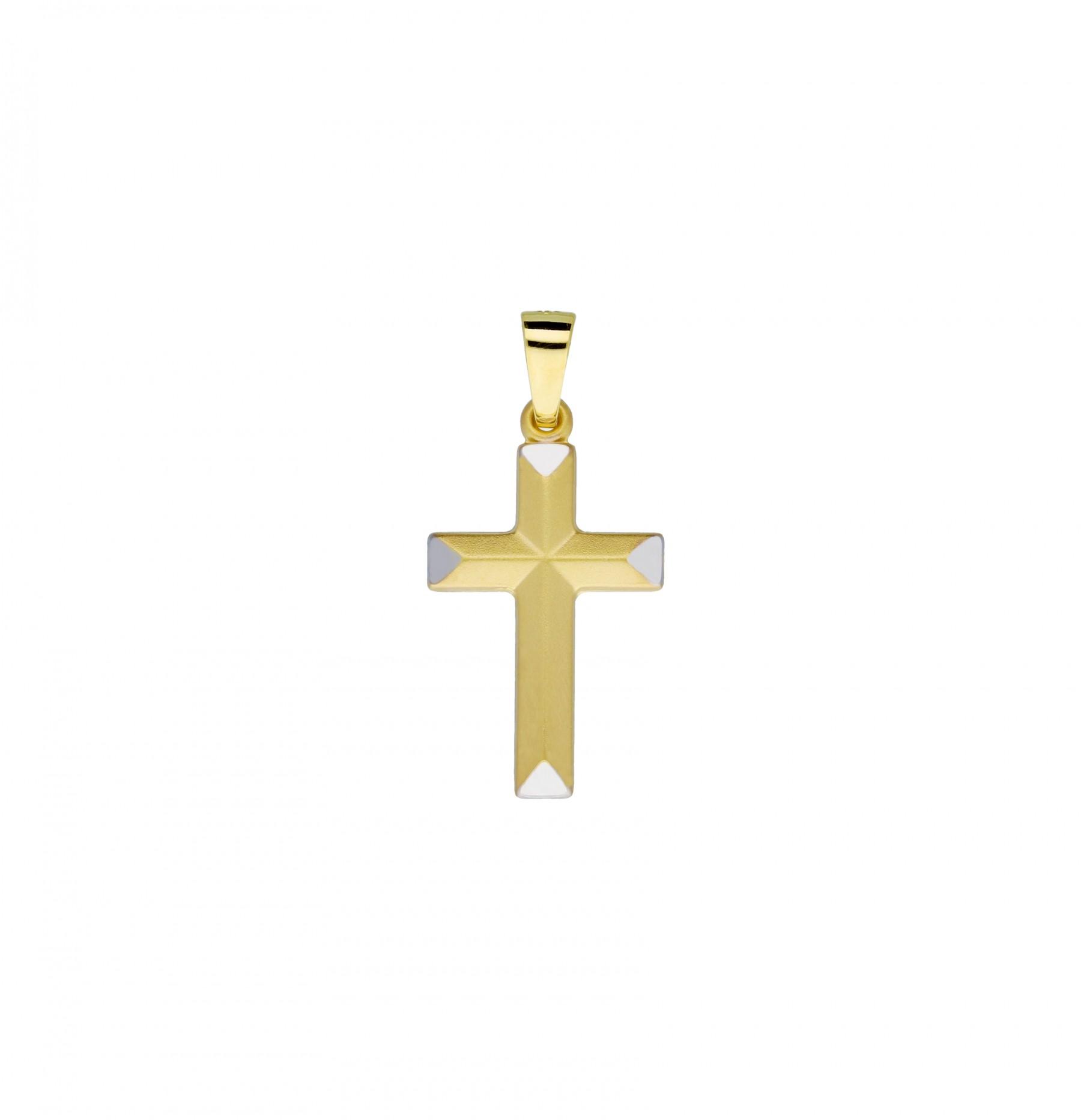 Religious Gouden Kruisje - 21 X 12 Mm Bicolor Mat Glanzend 246.0144.00