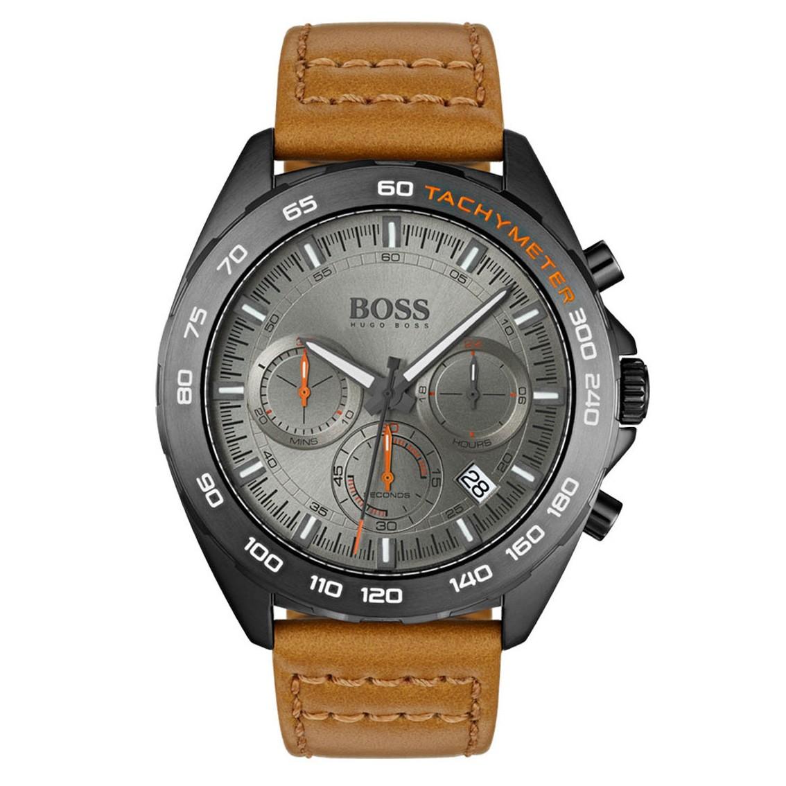 Hugo Boss HB1513664 Horloge Intensity chrono grijs-cognac 44 mm