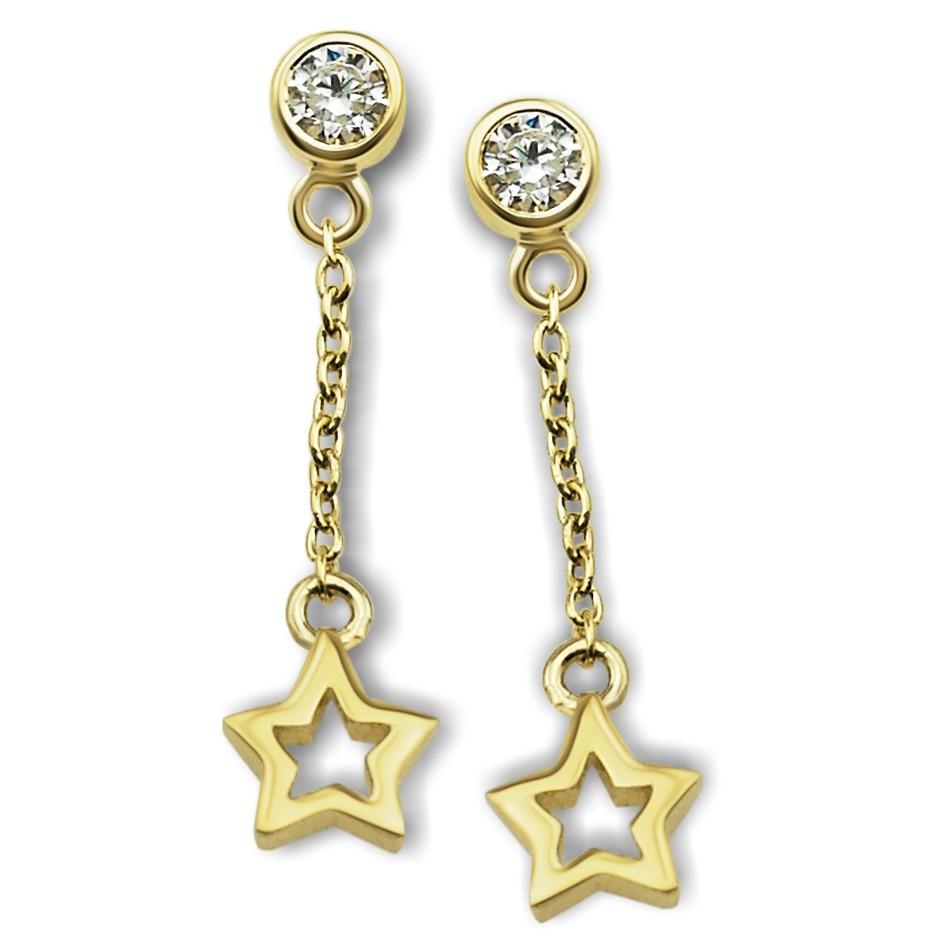 JWLS4U JE007G Oorhangers Star Open zilver goudkleurig