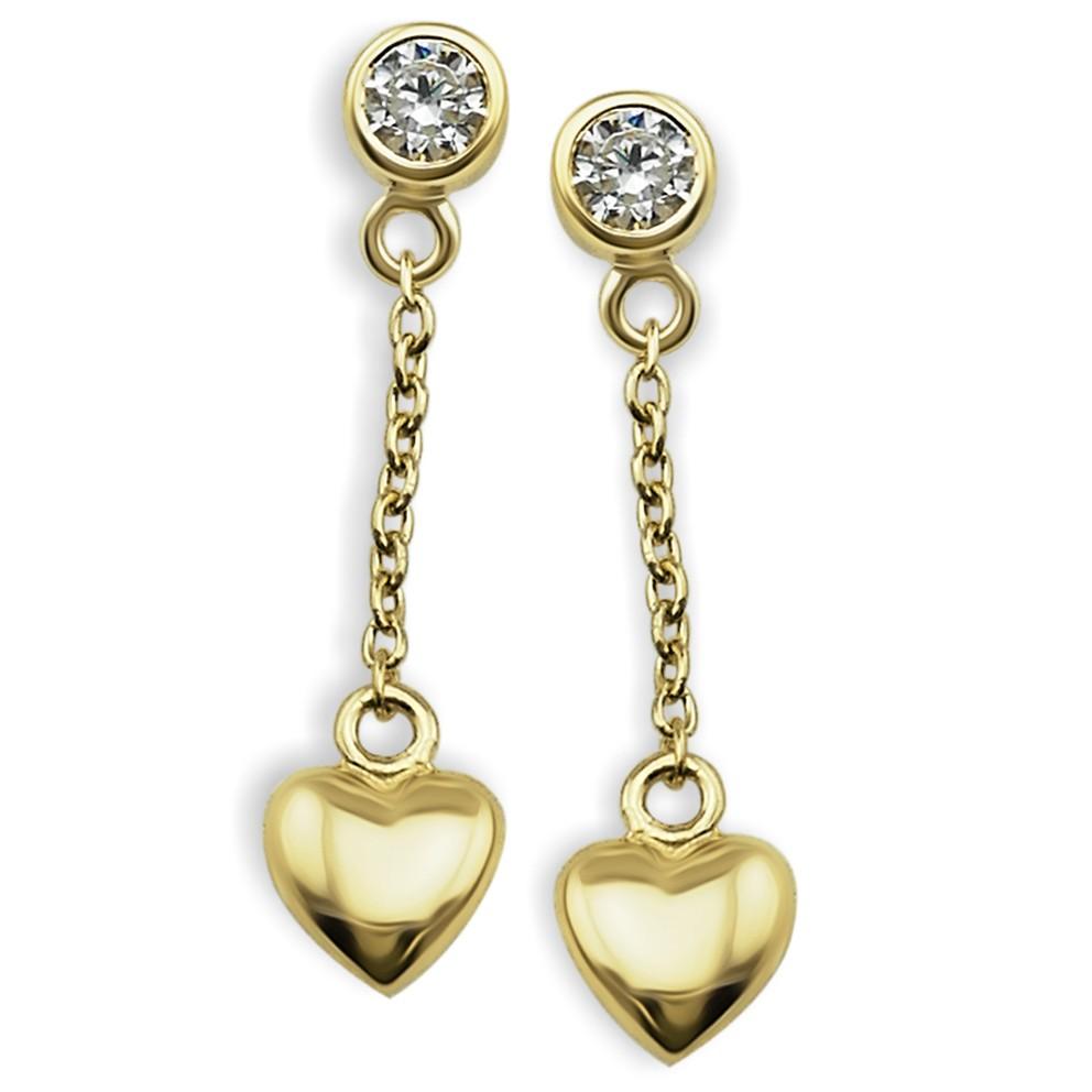 JWLS4U JE008G Oorhangers Heart zilver goudkleurig
