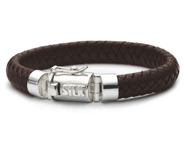 Silk Jewellery Armband zilver-leder Shiva Bruin 21 cm 326BRN