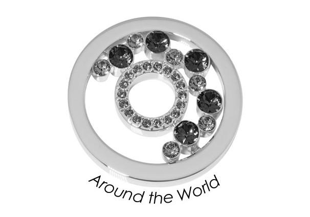 Quoins Disk Around the World staal zilverkleurig-blauw Medium QMOK-33M-E-BL