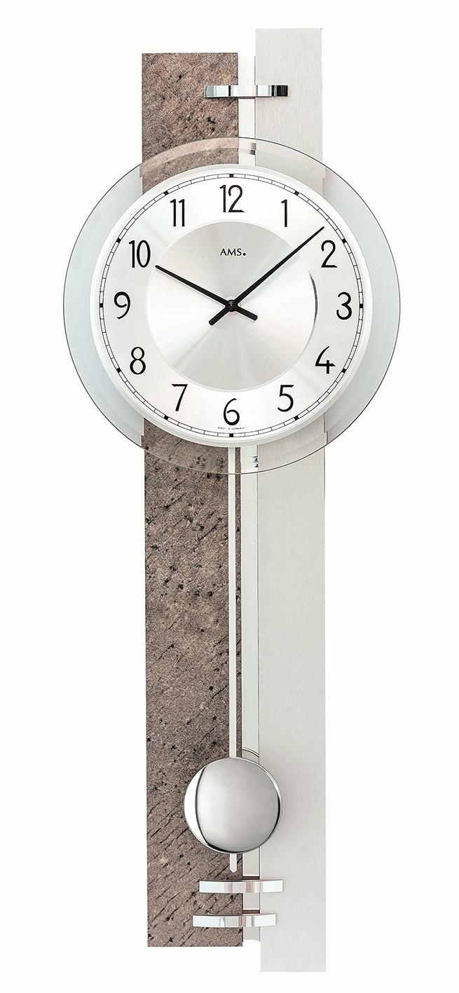AMS 7440 Wandklok slinger Natuursteen-Aluminium