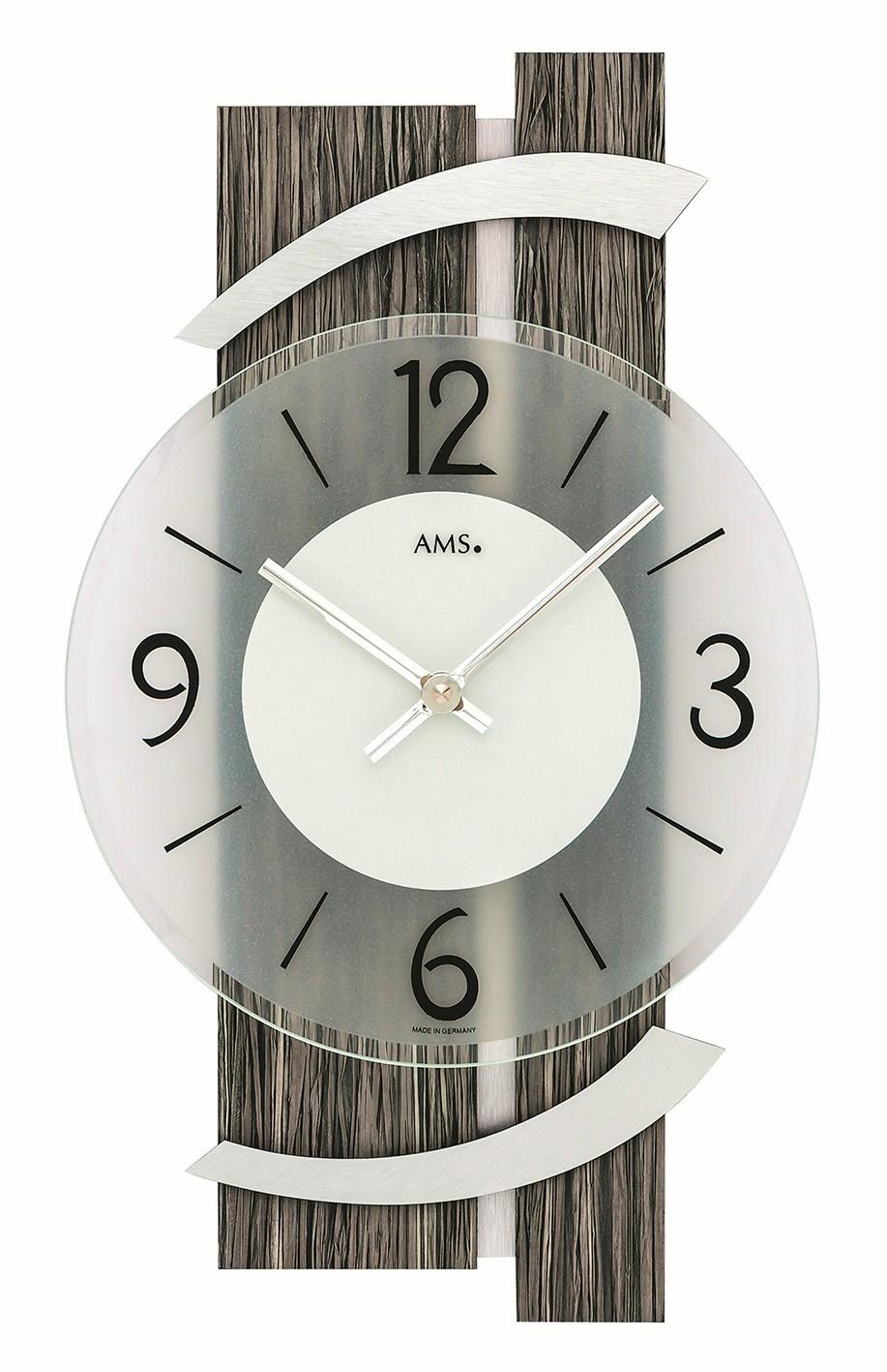 AMS 9547 Wandklok Hout-Aluminium