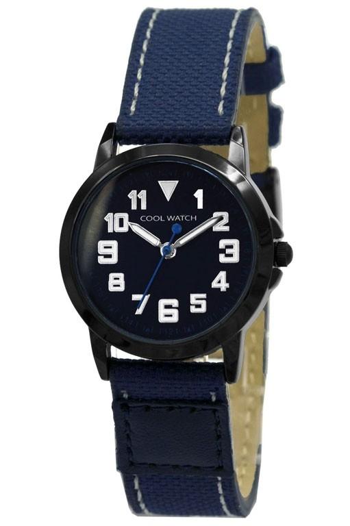 Coolwatch kinderhorloge 'Jort' canvas-staal blauw-zwart CW.248