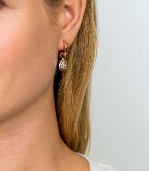 Zinzi ZICH1768R Oorringbedel druppelvorm zilver rosekleurig