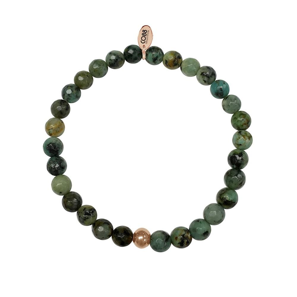 CO88 Collection 8CB-17008 - Armband met tag - staal en natuursteen 6 mm - one-size - herfst groen / bruin