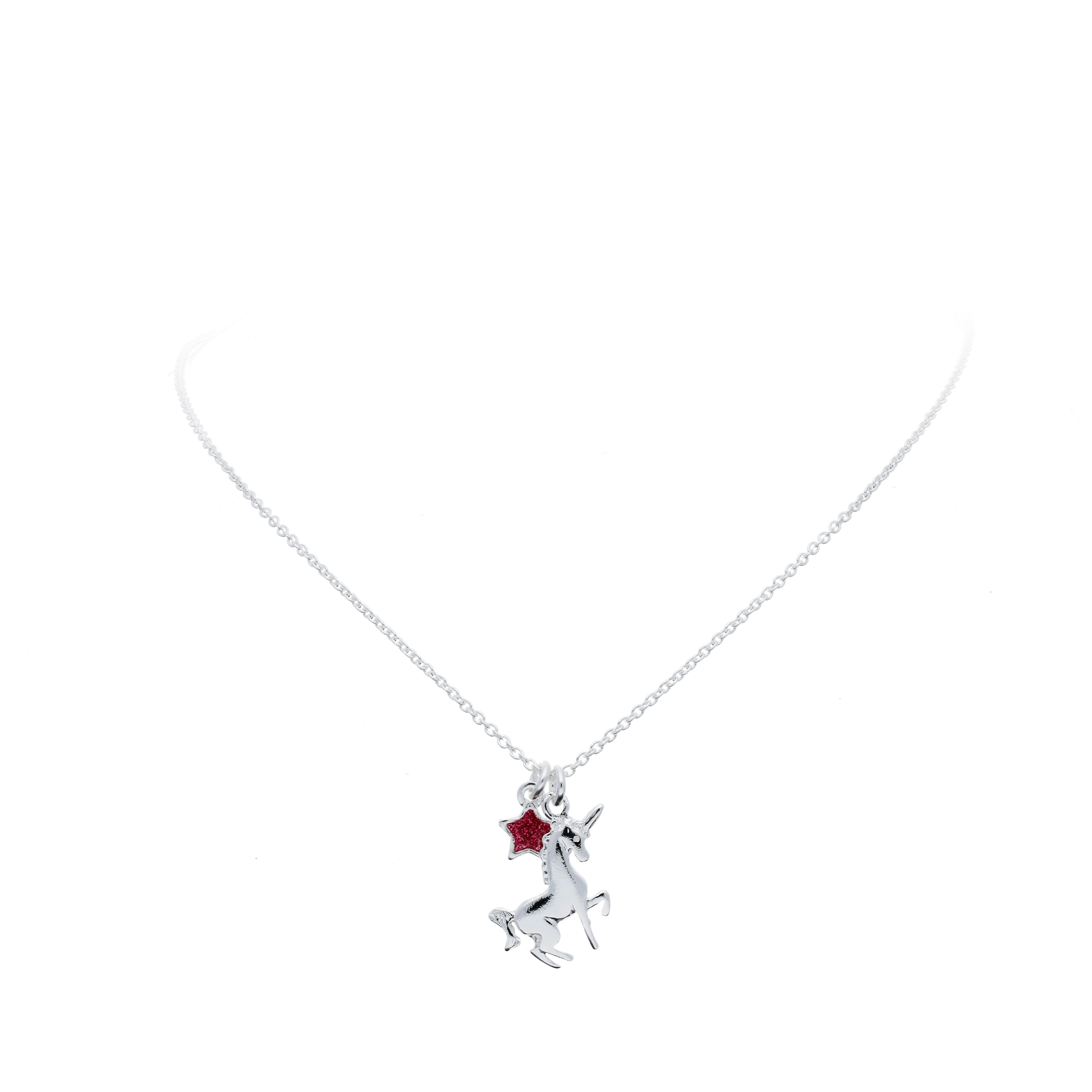 Lilly Zilveren Bedelcollier - Eenhoorn Roze Ster  102.1532.40