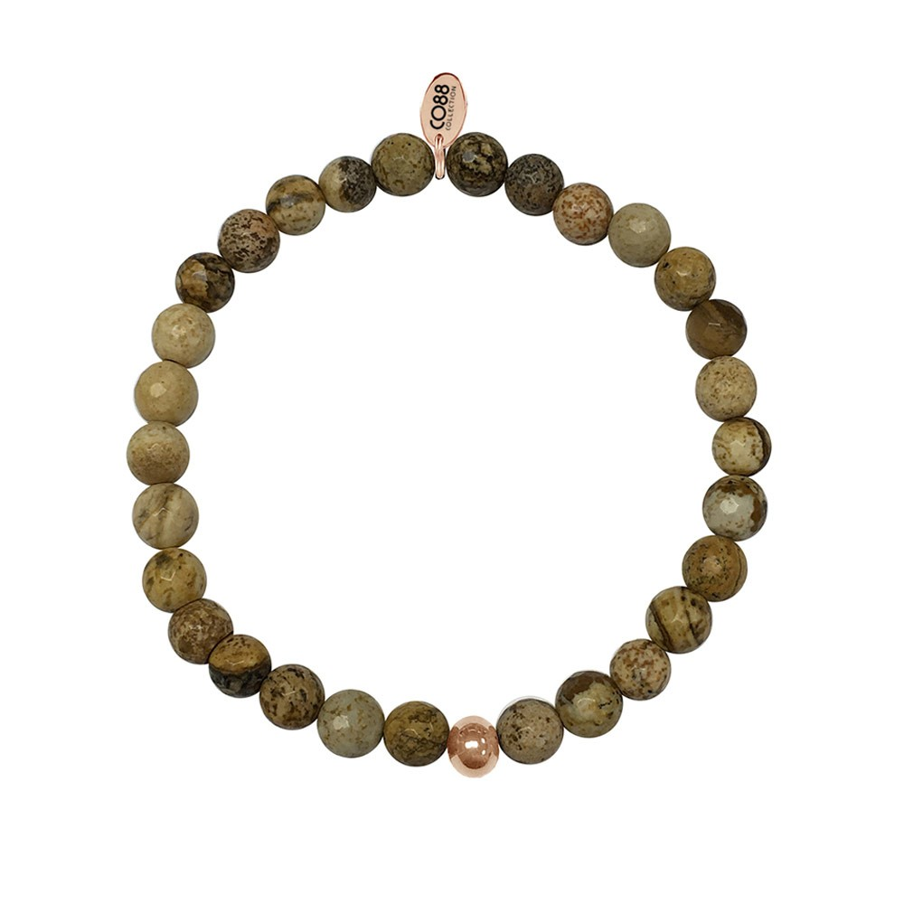 CO88 Collection 8CB-17002 - Armband met tag - staal  en Jaspis natuursteen 6 mm - one-size - multi / taupe / bruin