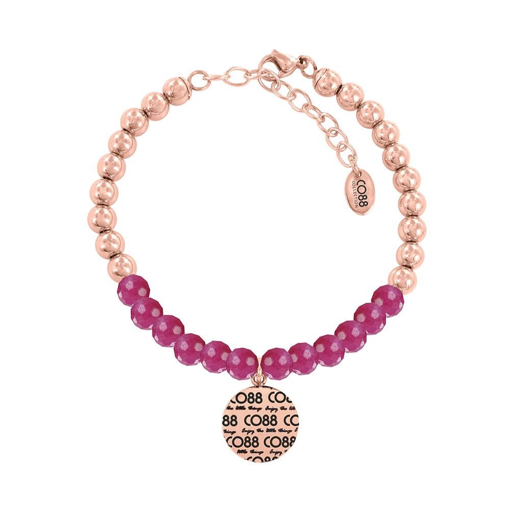 CO88 Collection 8CB-14012 - Armband met bedel - stalen en Jade natuursteen 6 mm - CO88 logo - lengte 17 + 5 cm - roze / rosékleurig