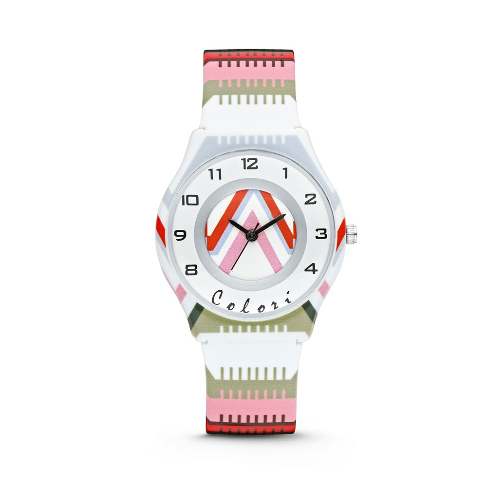 Colori Funtime 5-CLK037 - Kinderhorloge - siliconen band - strepen print wit - 34 mm