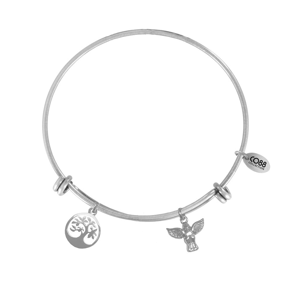 CO88 Collection 8CB-21004 - Stalen bangle met bedels - levensboom en engel - one-size - zilverkleurig
