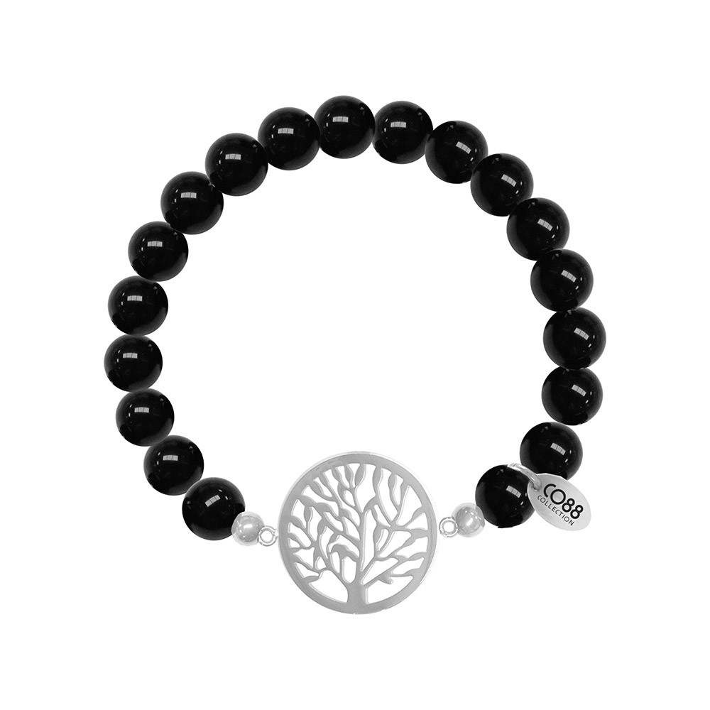 CO88 Collection 8CB-80020 - Rekarmband met bedels - Agaat natuursteen 8 mm - levensboom - one-size - zwart / zilverkleurig