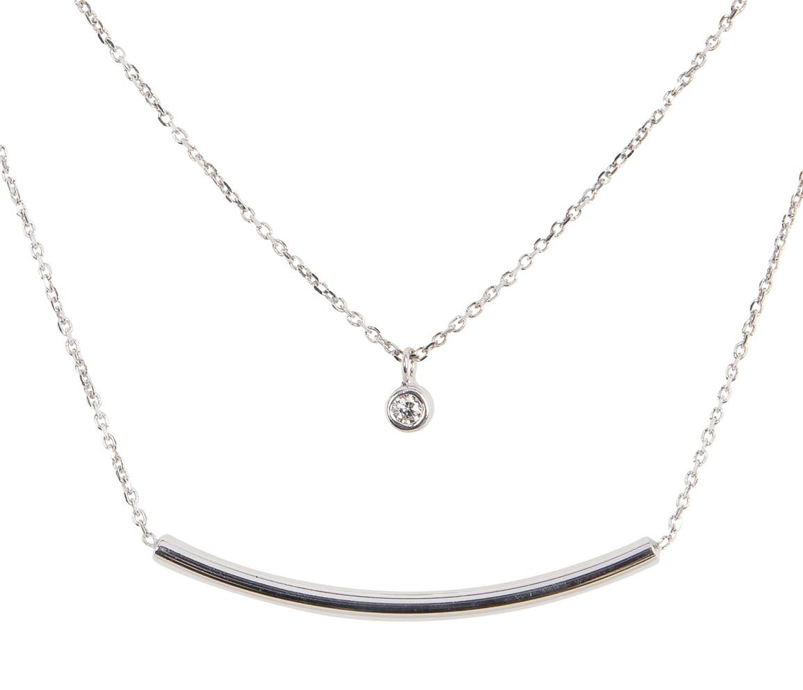 Lovenotes 102.0566.45 Ketting zilver staaf multi-layer met zirconia 45 cm