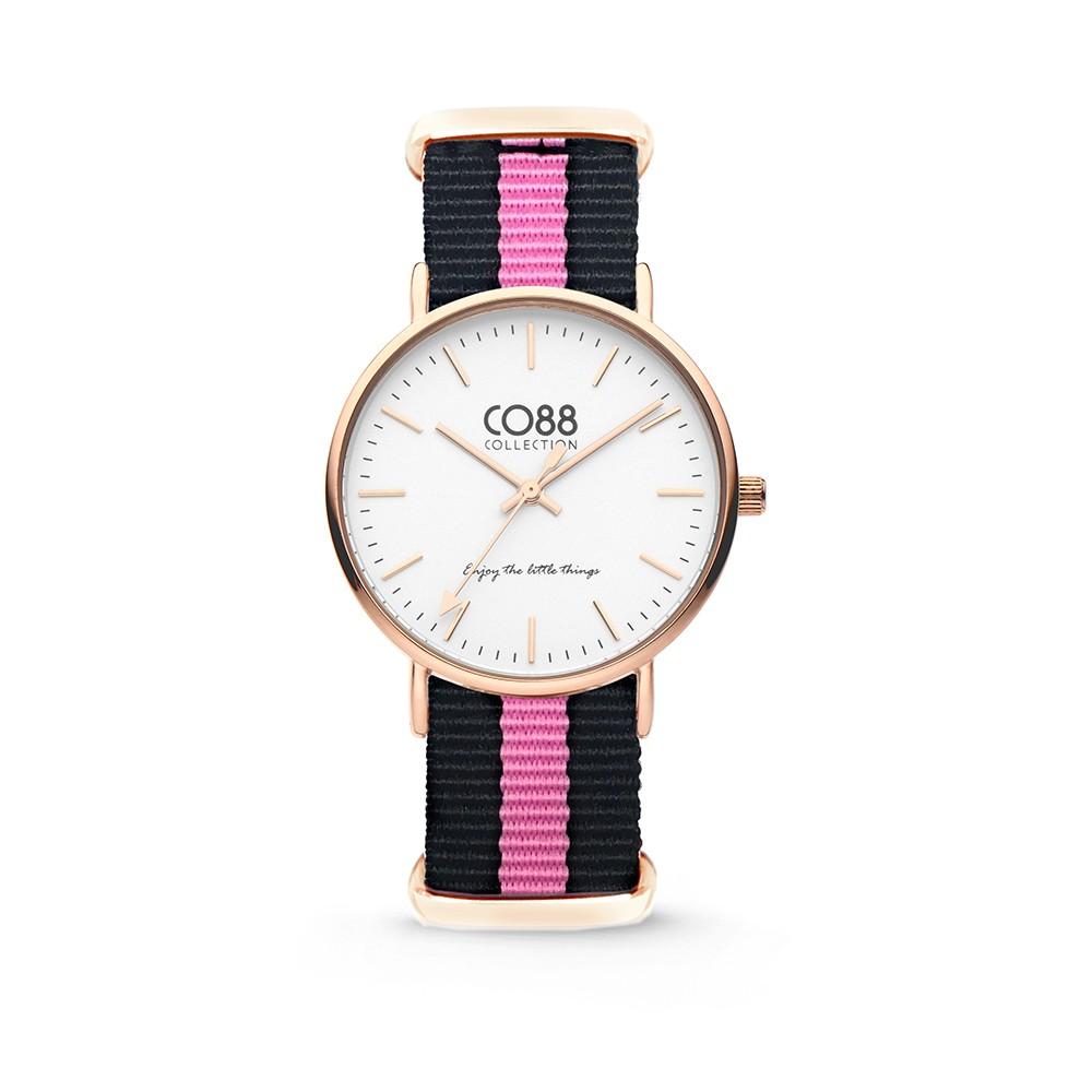 CO88 Collection - 8CW-10033 - Horloge - nato nylon - zwart/roze - 36 mm