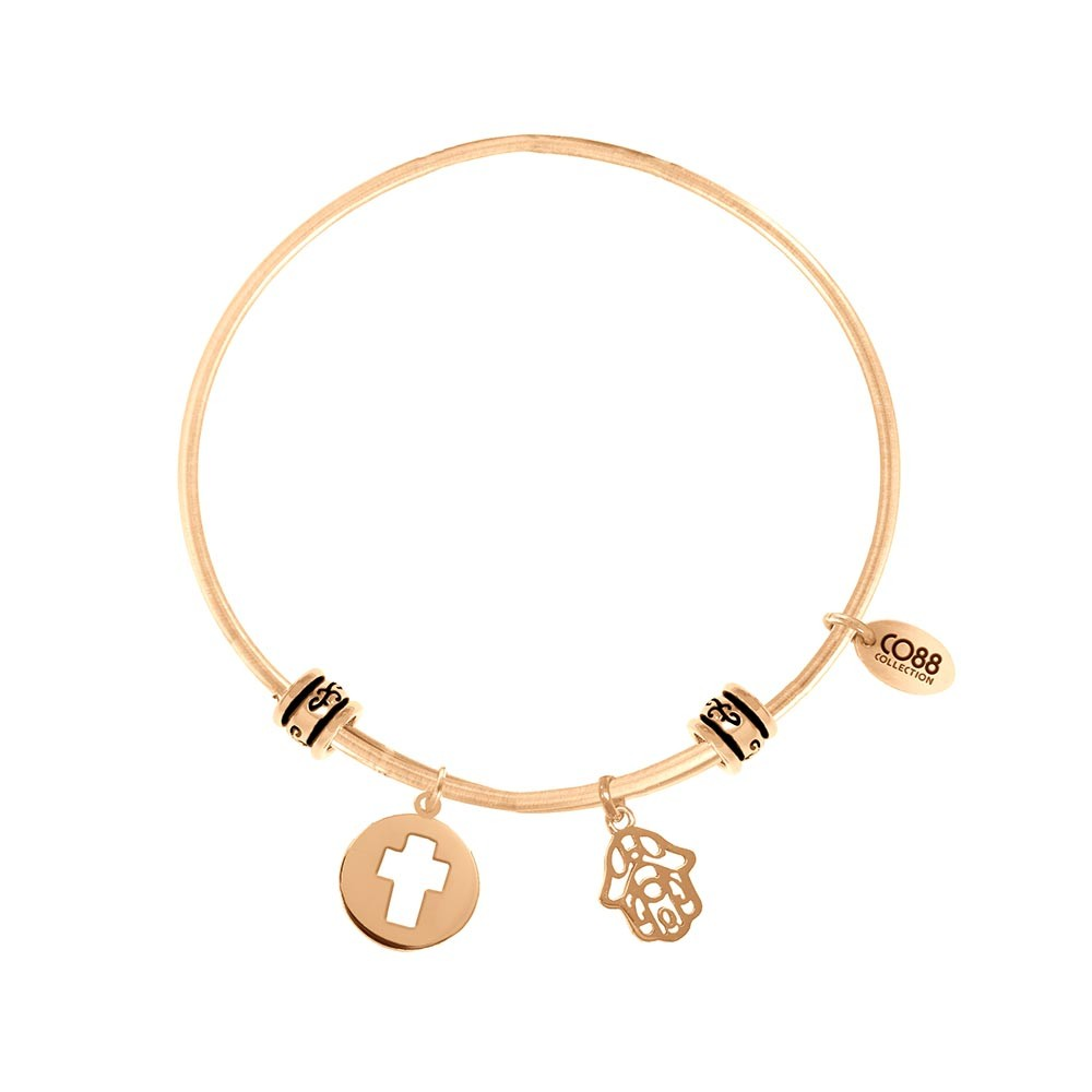 CO88 Collection 8CB-25005 - Stalen bangle met bedels - open kruis en Fatima's hand - one-size - goudkleurig