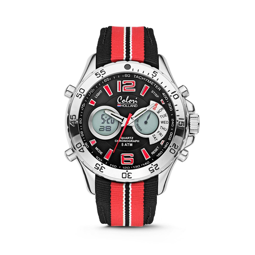 Colori Holland Sports 5-CLD131 - Horloge - nylon band - rood/zwart - 48 mm