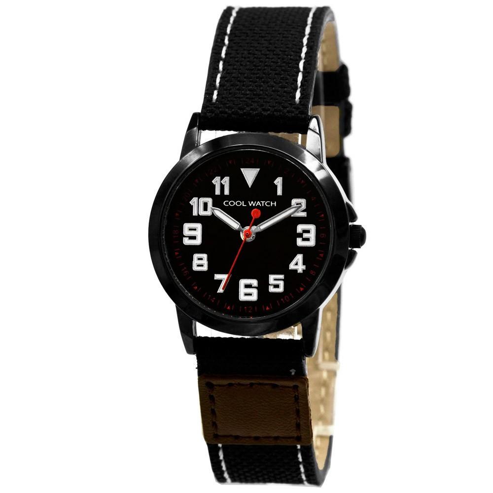 Coolwatch kinderhorloge 'Jort' canvas-staal bruin-zwart CW.245