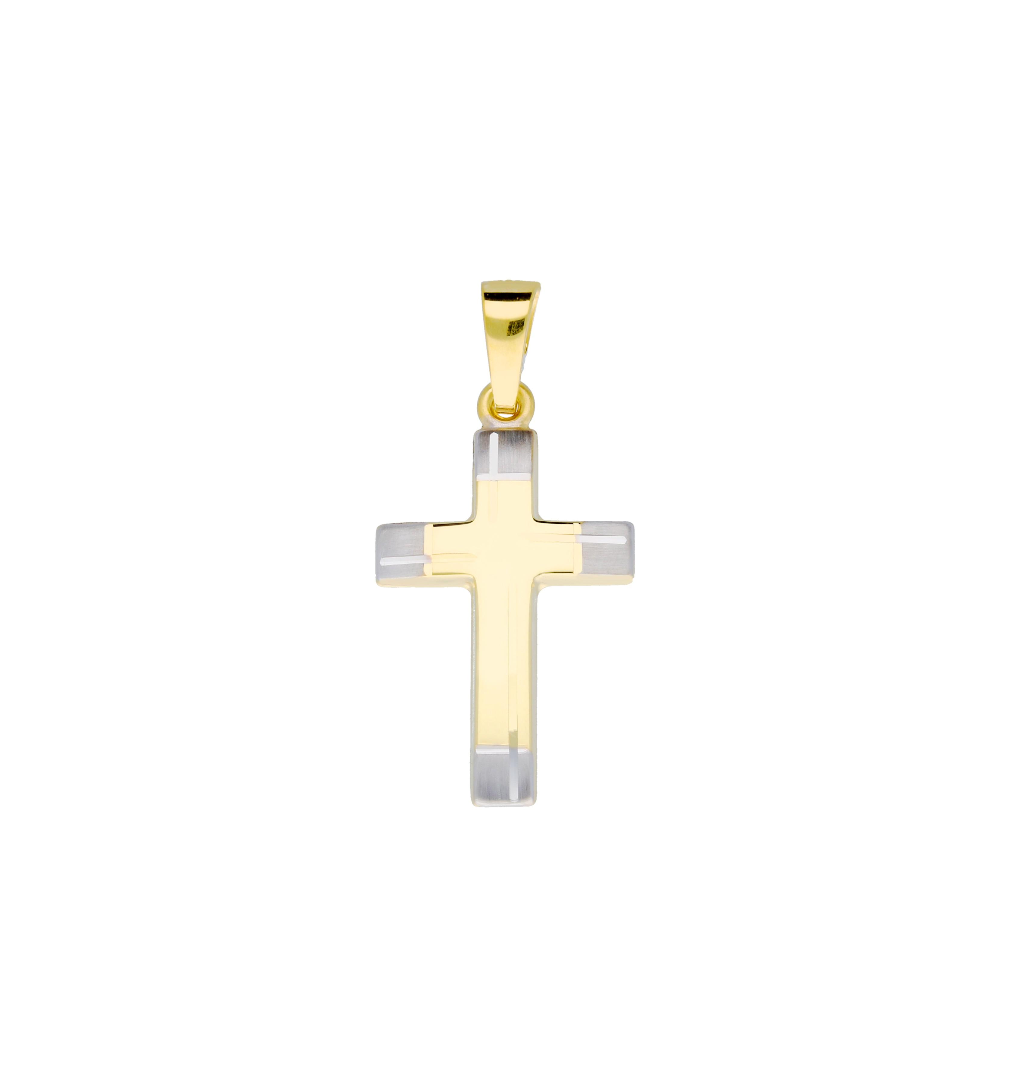 Religious Gouden Kruisje - 25 X 12 Mm Bicolor Mat Glanzend 246.0141.00