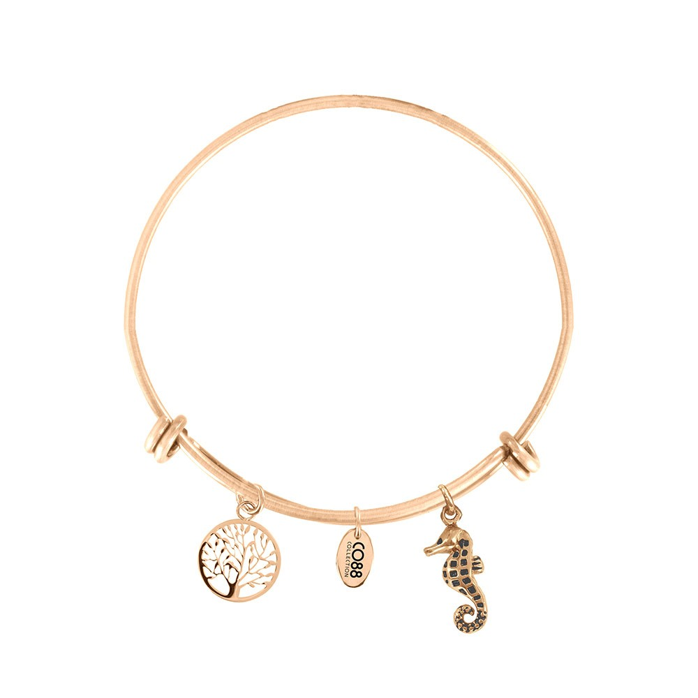 CO88 Collection 8CB-18010 - Stalen bangle met bedels - levensboom en zeepaard - one-size - goudkleurig