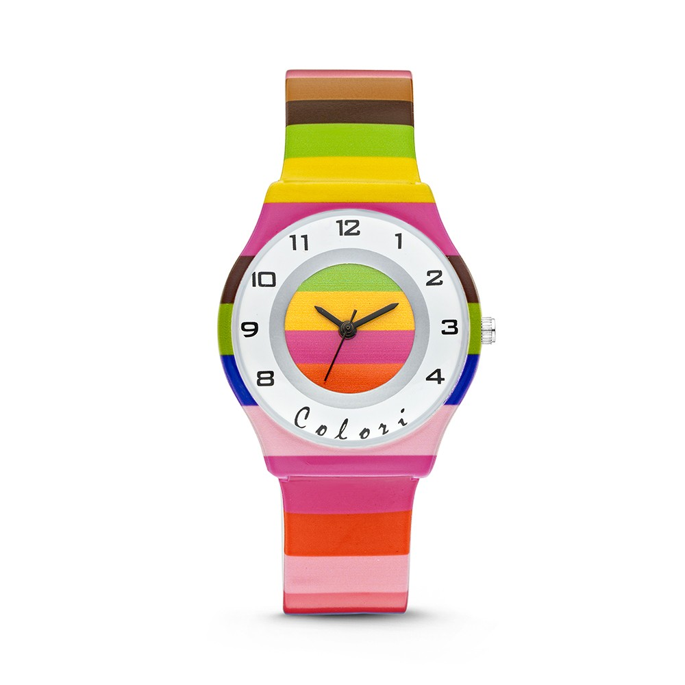 Colori Funtime 5-CLK038 - Kinderhorloge - siliconen band - streepjes print roze - 34 mm