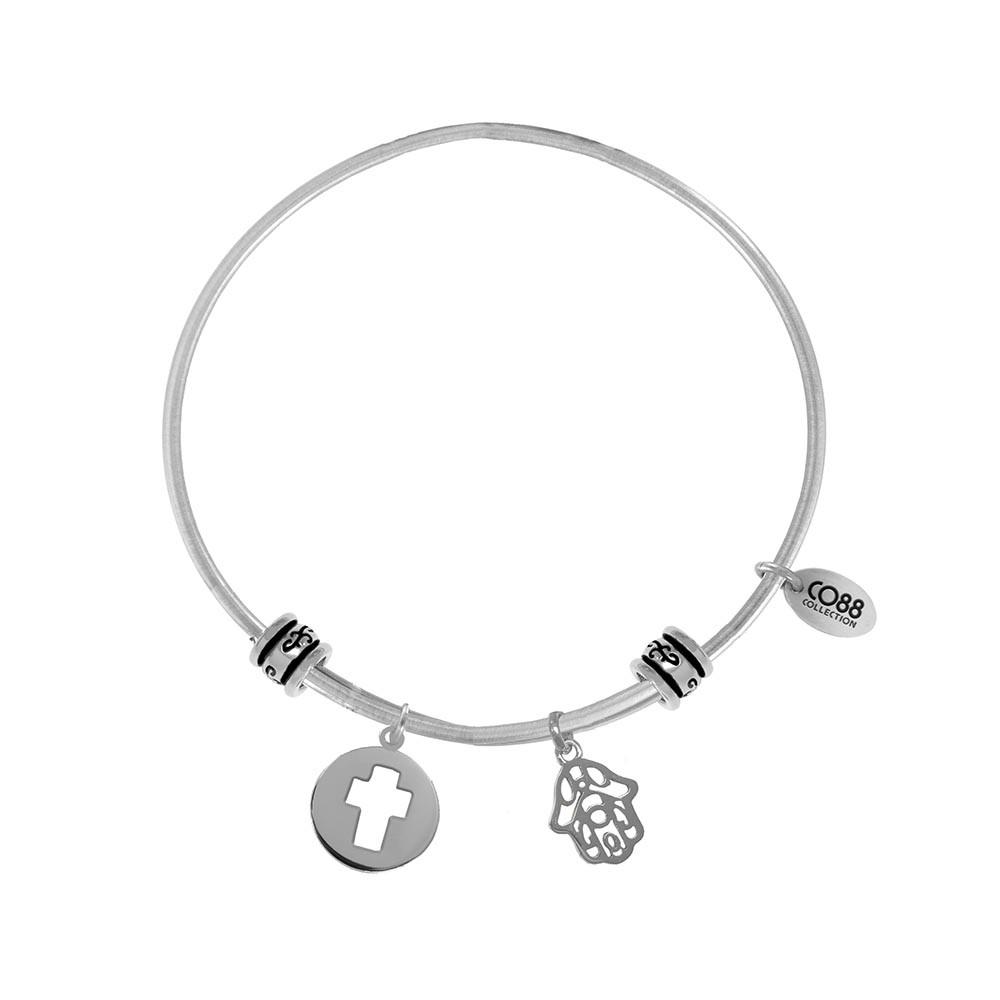 CO88 Collection 8CB-25001 - Stalen bangle met bedels - open kruis en Fatima's hand - one-size - zilverkleurig