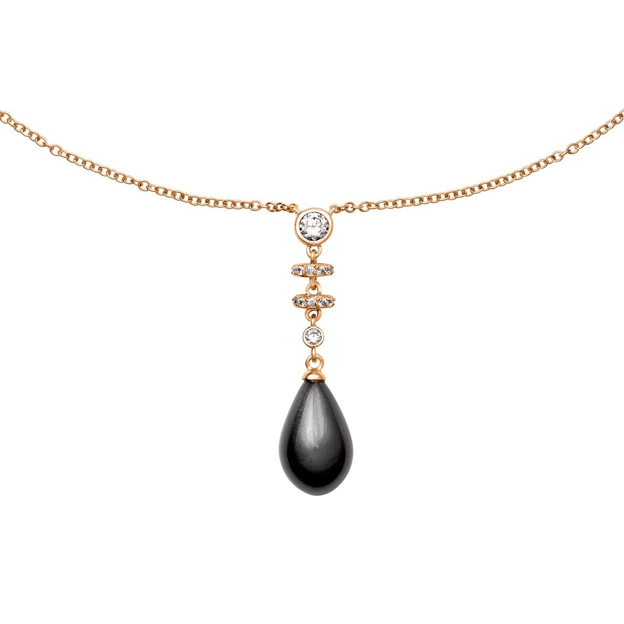Zilveren Collier 45 cm Rosé-goud verguld met zwarte Parelhanger en Zirkonia 803.0340.45