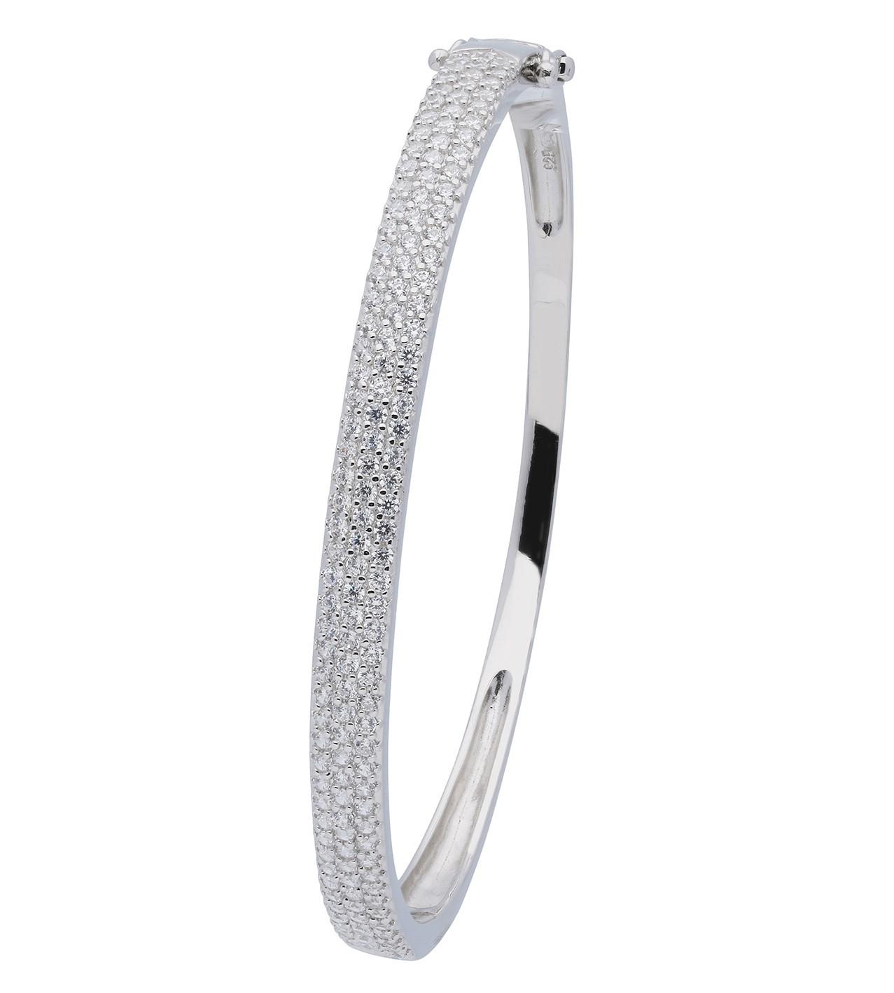 Classics Zilveren Slavenband Zirkonia 4 mm breed vierkant