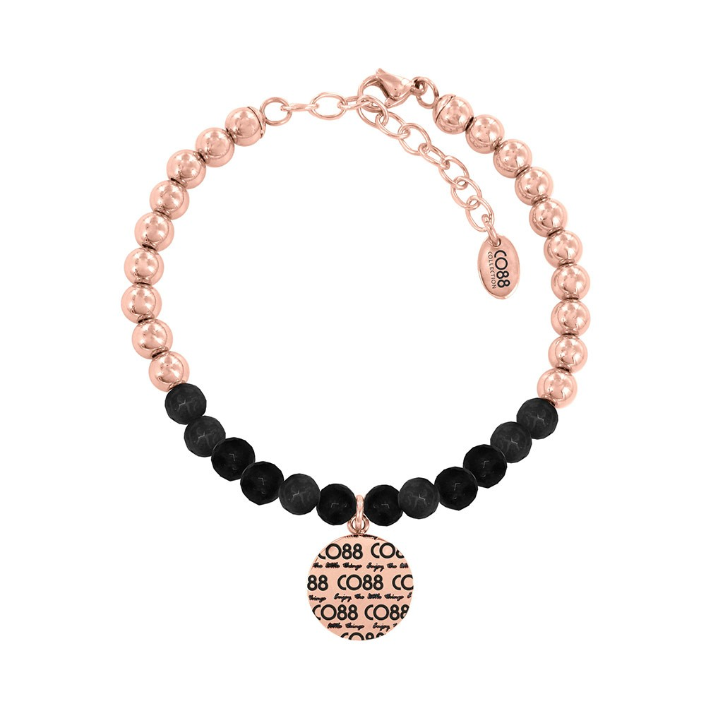 CO88 Collection 8CB-14003 - Armband met bedel - stalen en Jade natuursteen 6 mm - CO88 logo - lengte 17 + 5 cm - zwart / rosékleurig