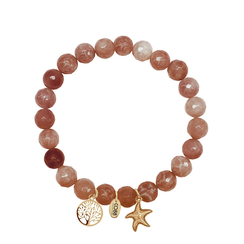 CO88 Collection 8CB-90008 - Armband met bedels - natuursteen en staal - Jade 8 mm - levensboom en zeester - one-size - multi / rood / bruin / goudkleurig