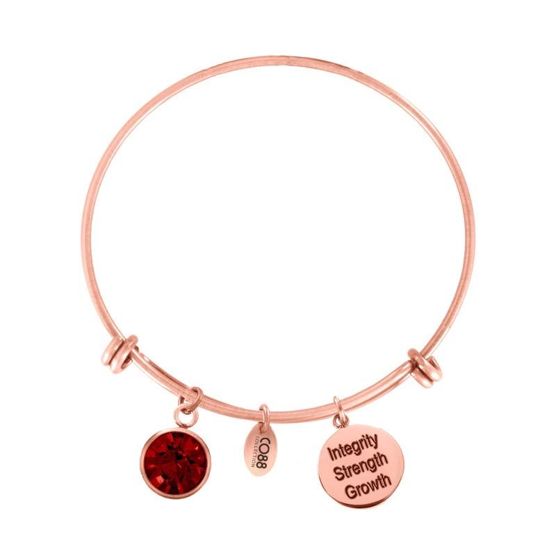 CO88 Collection 8CB-12055 - Stalen bangle met geboortesteen juli   Robijn en bedels - one-size - rood / rosékleurig