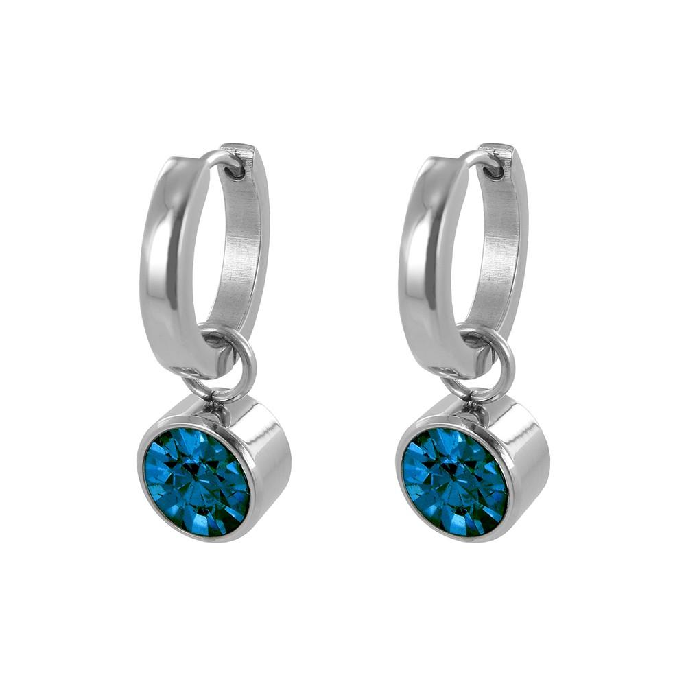 CO88 Collection 8CE-60011 - Stalen creolen met geboortesteen december | licht saffier 10 mm - lengte 2,5 cm - licht blauw /  zilverkleurig
