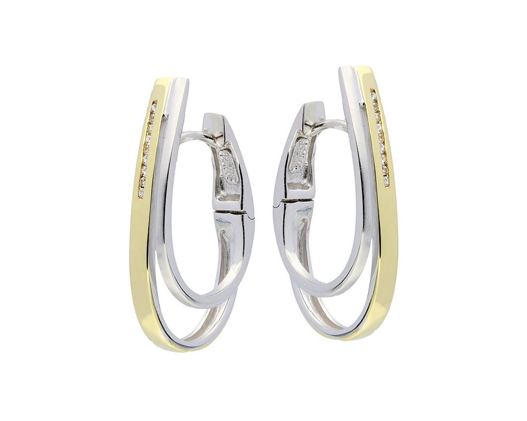Zilveren Oorbellen klapcreolen met zirconia goudkleurig 107.5153.00
