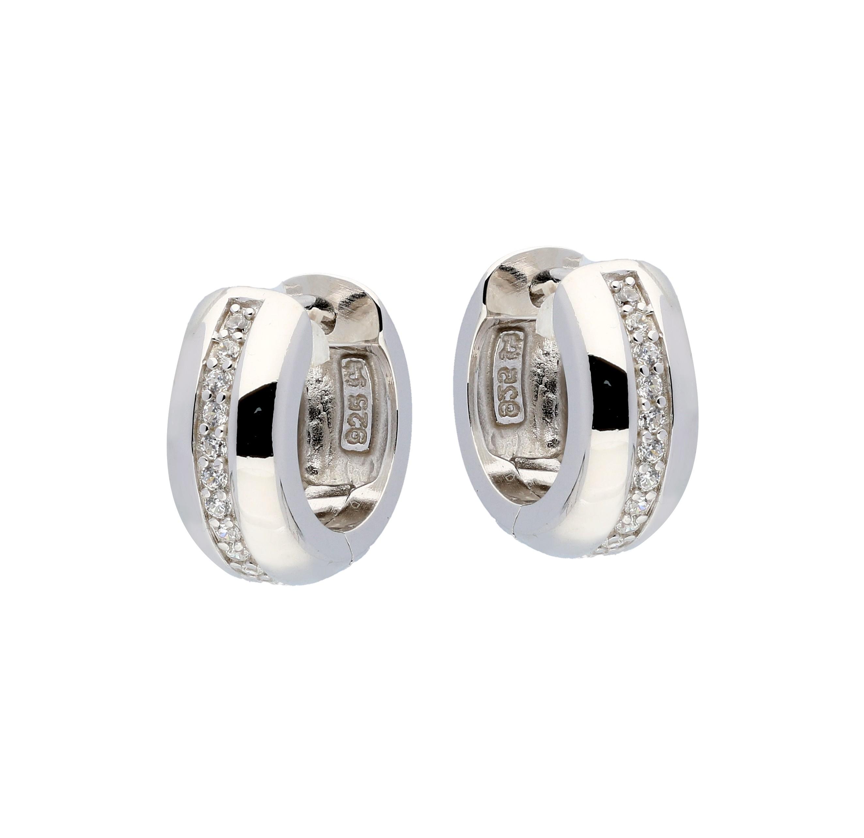 Zilveren klapcreolen - zirkonia - 6 x 14 mm - ronde buis - gerodineerd 107.0485.07