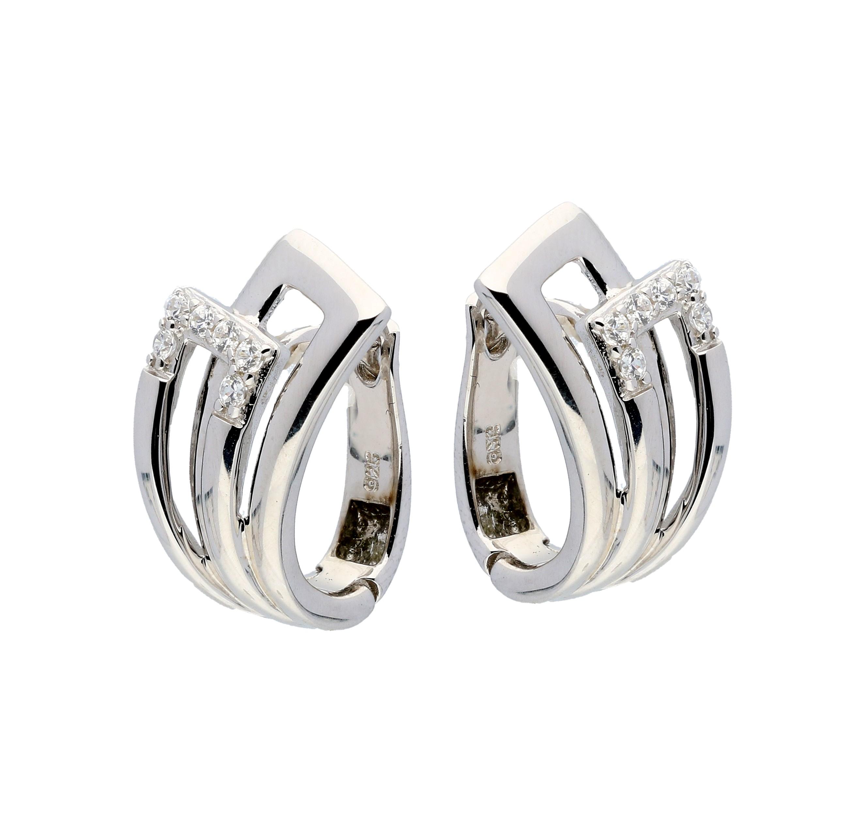 Zilveren Oorbellen klapcreolen met zirconia 107.6152.00
