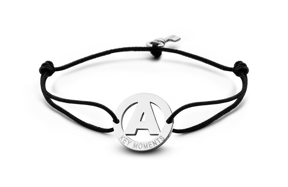 Key Moments 8KM-A00001 Armband met stalen letter A en sleutel one-size zilverkleurig